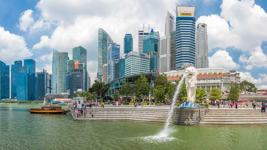 Merlion Park with the Singapore city in the background.